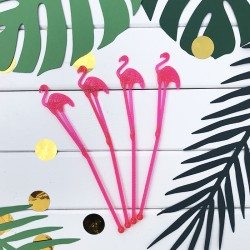 MIESZADEŁKA do koktajli/drinków Flamingi Aloha 18cm 12szt