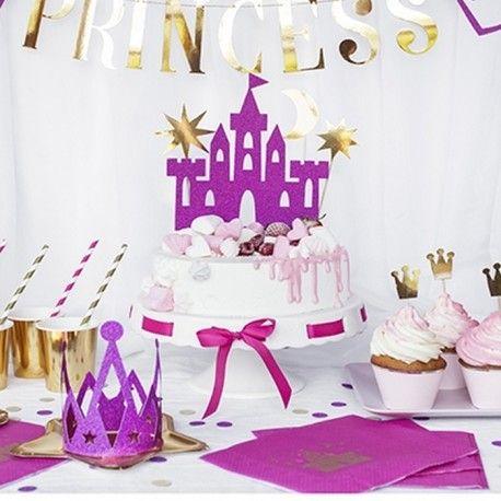 TOPPER na tort Księżniczka ZESTAW 4szt