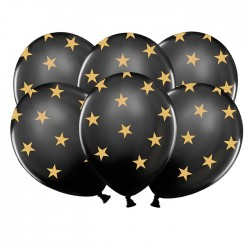 BALONY czarne w złote gwiazdki 30cm 6szt