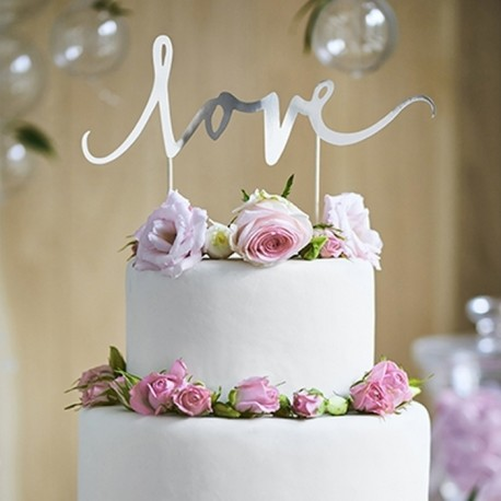 TOPPER na tort Love srebrny